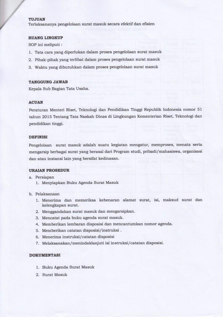 Sop 01 Ps Pengelolaan Surat Masuk Program Pascasarjana