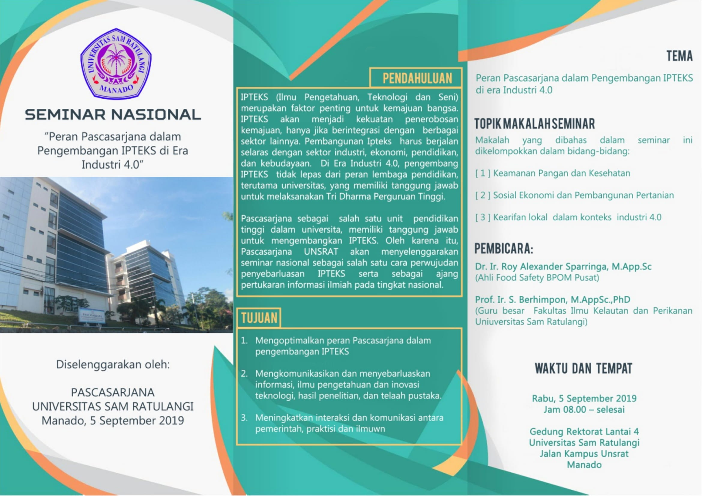"Come and Join Us in a National Seminar ""Peran Pascasarjana Dalam Pengembangan IPTEKS di Era Industri 4.0"" (5 September 2019)"